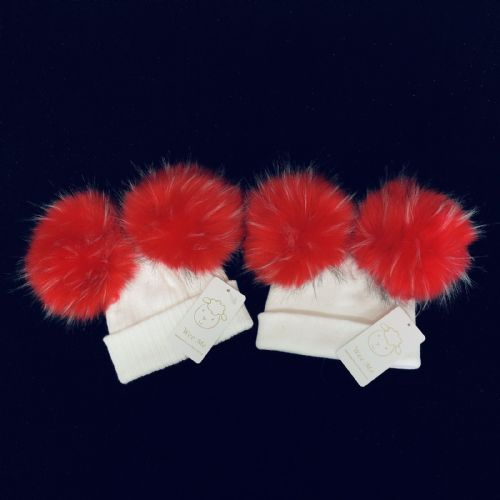 Gorgeous Baby Girl Red Double Fur Pom Hat Mega Pom